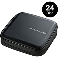 SANWA (Japan Brand) 24 Capacity CD Case, Portable DVD/VCD Storage, EVA Protective Blu-ray Wallet, Binder, Holder, Booklet for Car, Home, Office, Travel (Black)