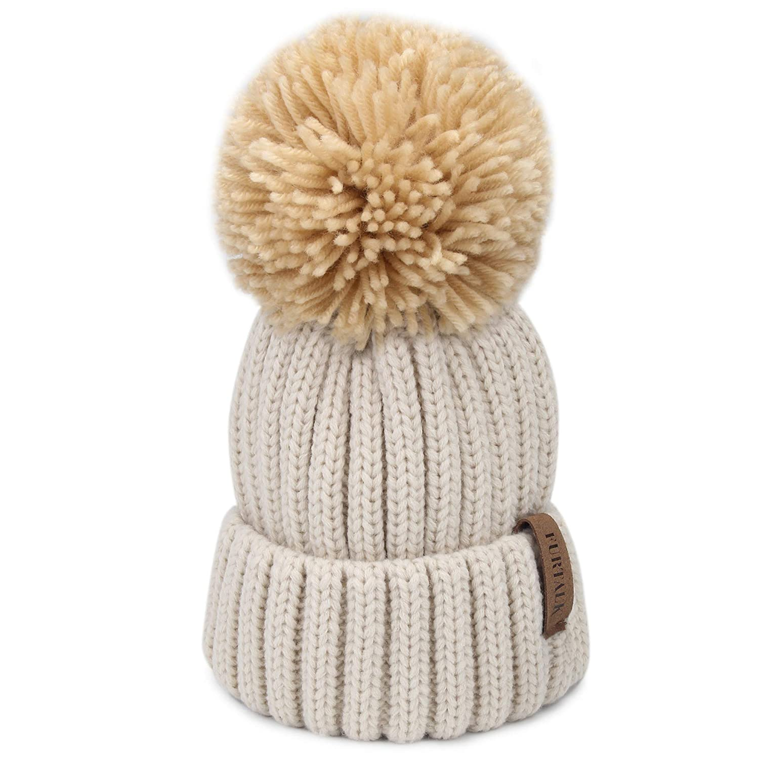 157d9b60b60 This winter hat is made of high quality stretchy acrylic to fit any size.  Real Fur Pom Pom Hat has a detachable 5.9 inch (16 cm) diameter Real  Raccoon fur ...