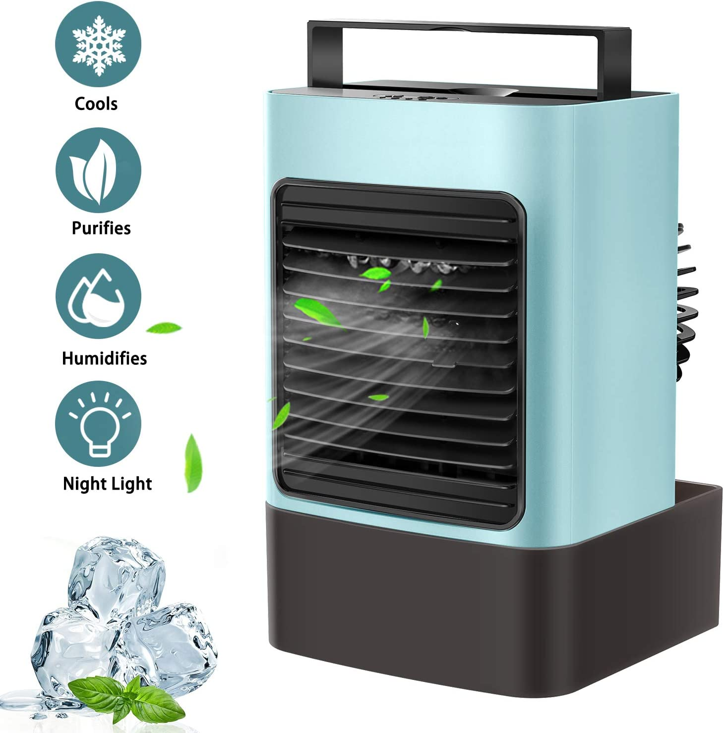 OVPPH Portable Air Conditioner, Personal Air Cooler Fan Mini Evaporative Cooler Desk Table Fan, Quiet Air Circulator Humidifier Misting Fan with 3 Speeds for Home Bedroom Office (Blue)