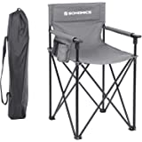 Friseur Regiestuhl mit hoher Sitzfl/äche mit 3 Taschen Belastbarkeit 150 kg f/ür Visagisten SONGMICS Campingstuhl max klappbarer Outdoor Stuhl hoch belastbar