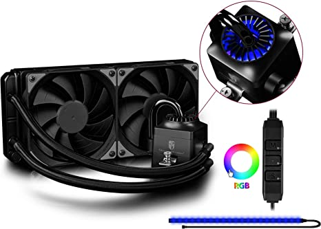 DEEPCOOL Captain 240EX RGB Plus Refrigeración Líquida CPU Silencioso AIO de Alto Rendimiento con Bomba y 2(120mm) PWM Ventiladores Silenciosos(AM4 Compatible ...