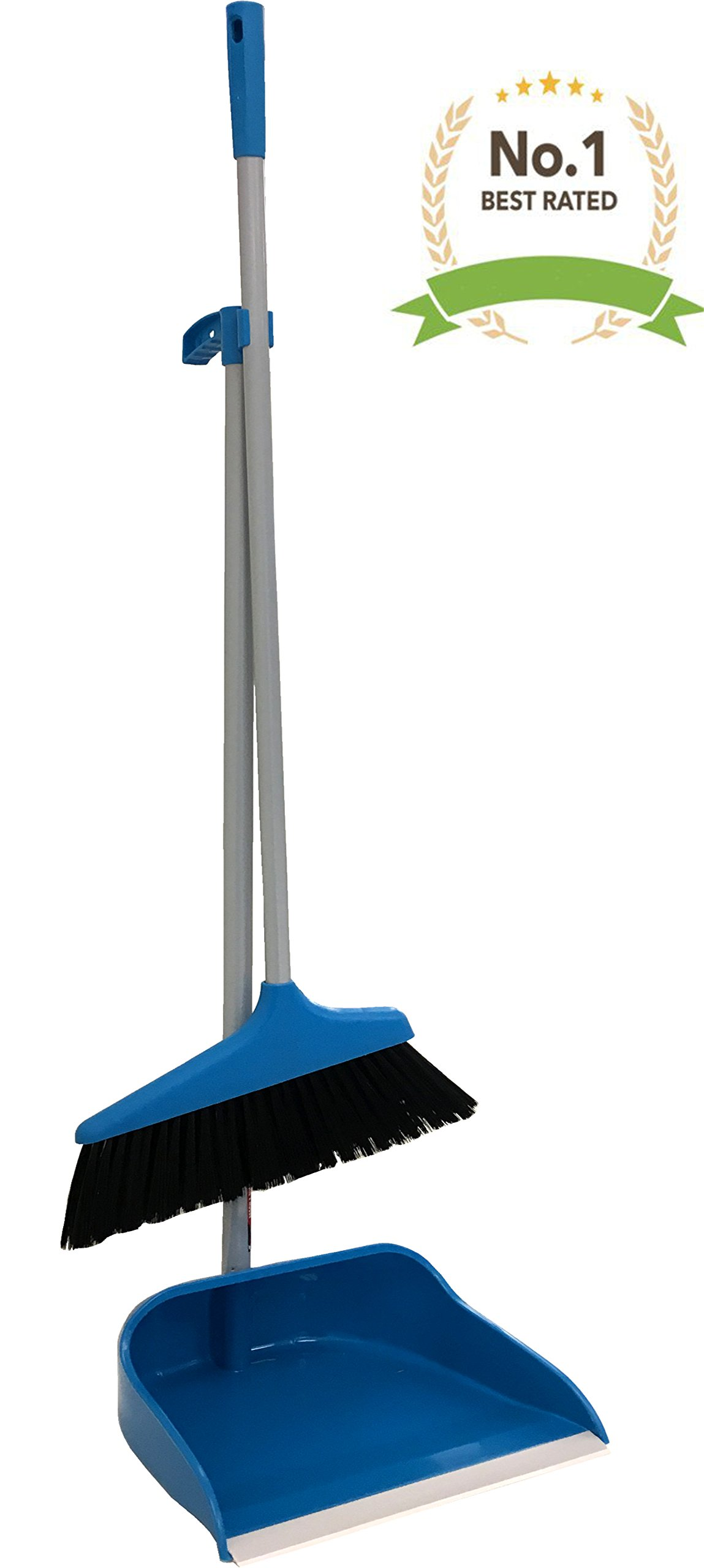 #1 Blue Upright Long Handle Dustpan And Brush Broom Set Lobby Home Modern Comfort Grip - Flexible & Durable Sweeper