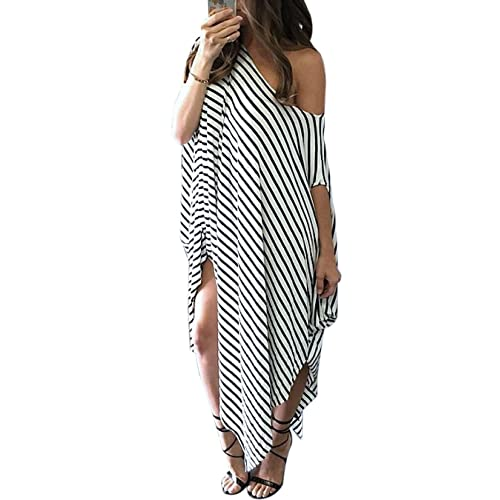 Striped Asymmetrical Maxi Dress with Dolman Sleeves