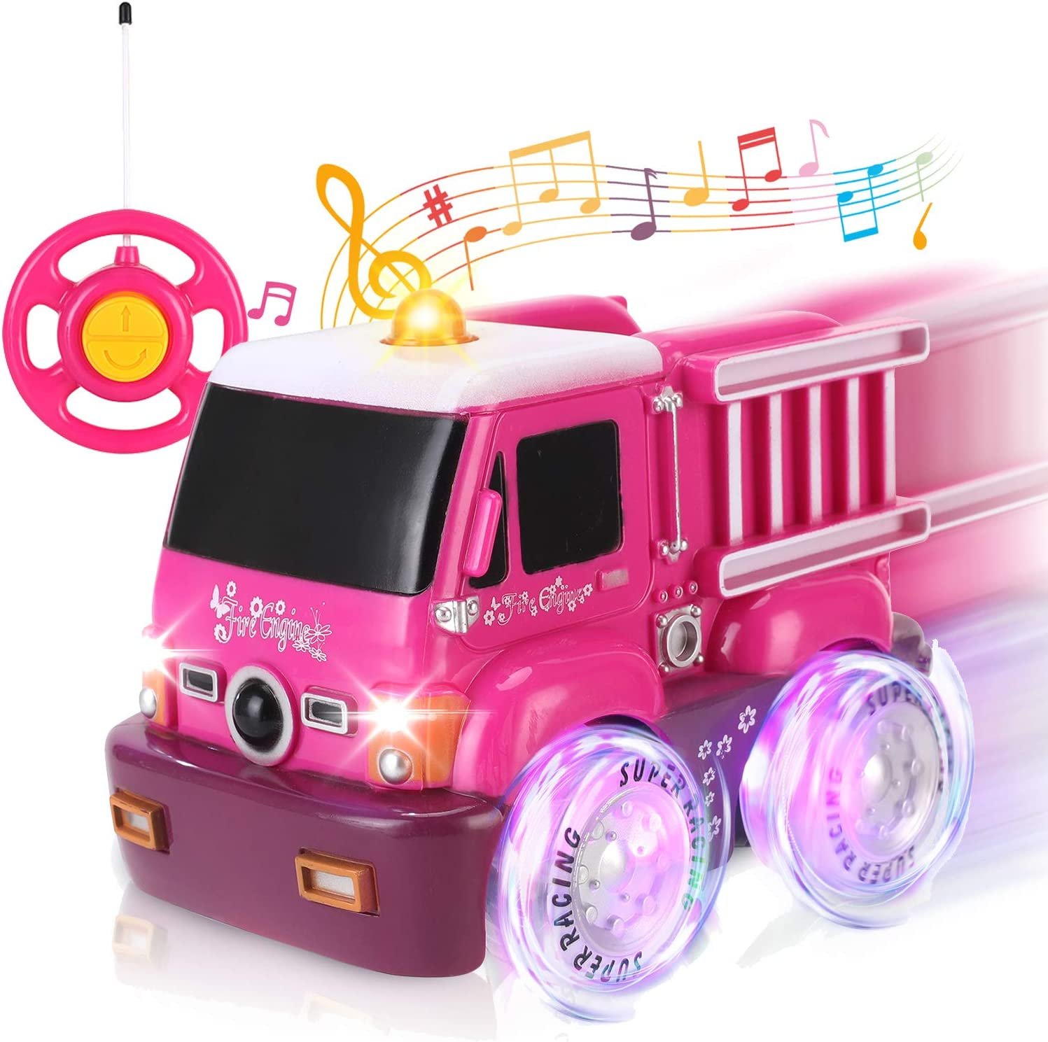 Amazon Com Liberty Imports My First Rc Car For Girls Pink Purple Remote Control 2ch Racer Vehicle For Kids Toddlers Fire Truck Toys Games