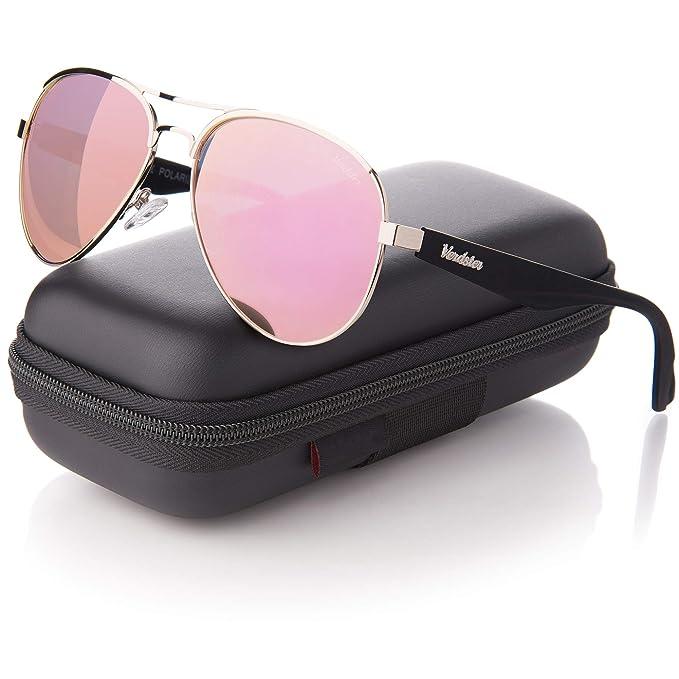 Gafas de sol de Aviador polarizadas Verdster para Mujeres – Protección UV400 – Lentes Espejo – rosa-oro