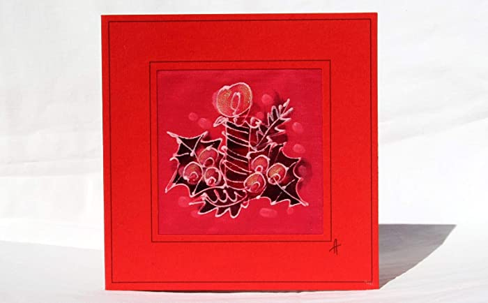 Amazon.com: SALE !!! 20% OFF,Christmas Candle Silk Card,Silk Painted ...