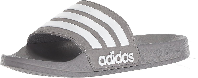 watch fa010 c98d9 adidas Men s Adilette Shower Slide Sandal, White Grey, 12 M US