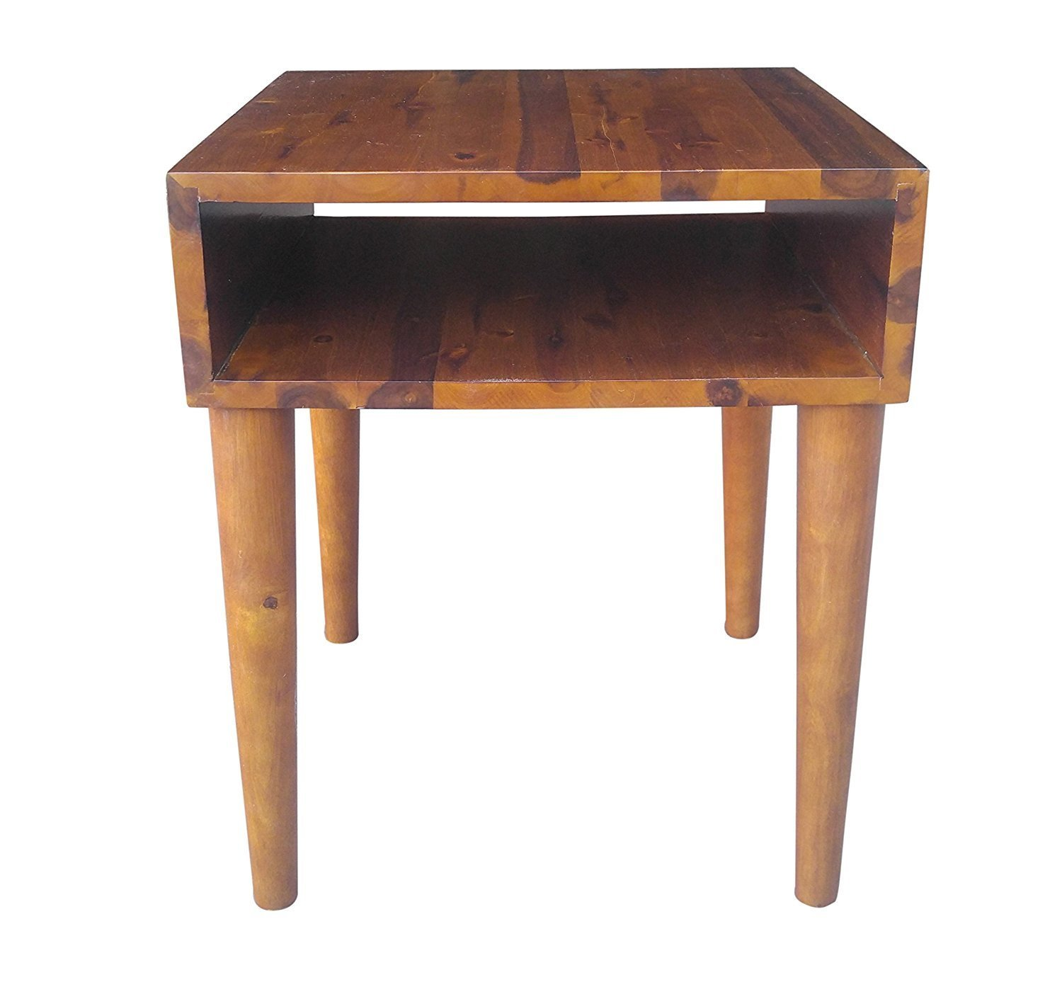Design 59 inc Mid-Century Modern Acacia Hardwood Side / End Table / Night Stand, NO TOOLS REQUIRED