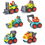 Baby Toys 12-18 Months Car Toys Early Educational Pocket Construction Vehicles Trucks Toy Sets of 6 PCS -Bulldozer,Cement Mixer,Dumper,Forklift,Excavator and Road Roller for Toddler Boy and Girl Best