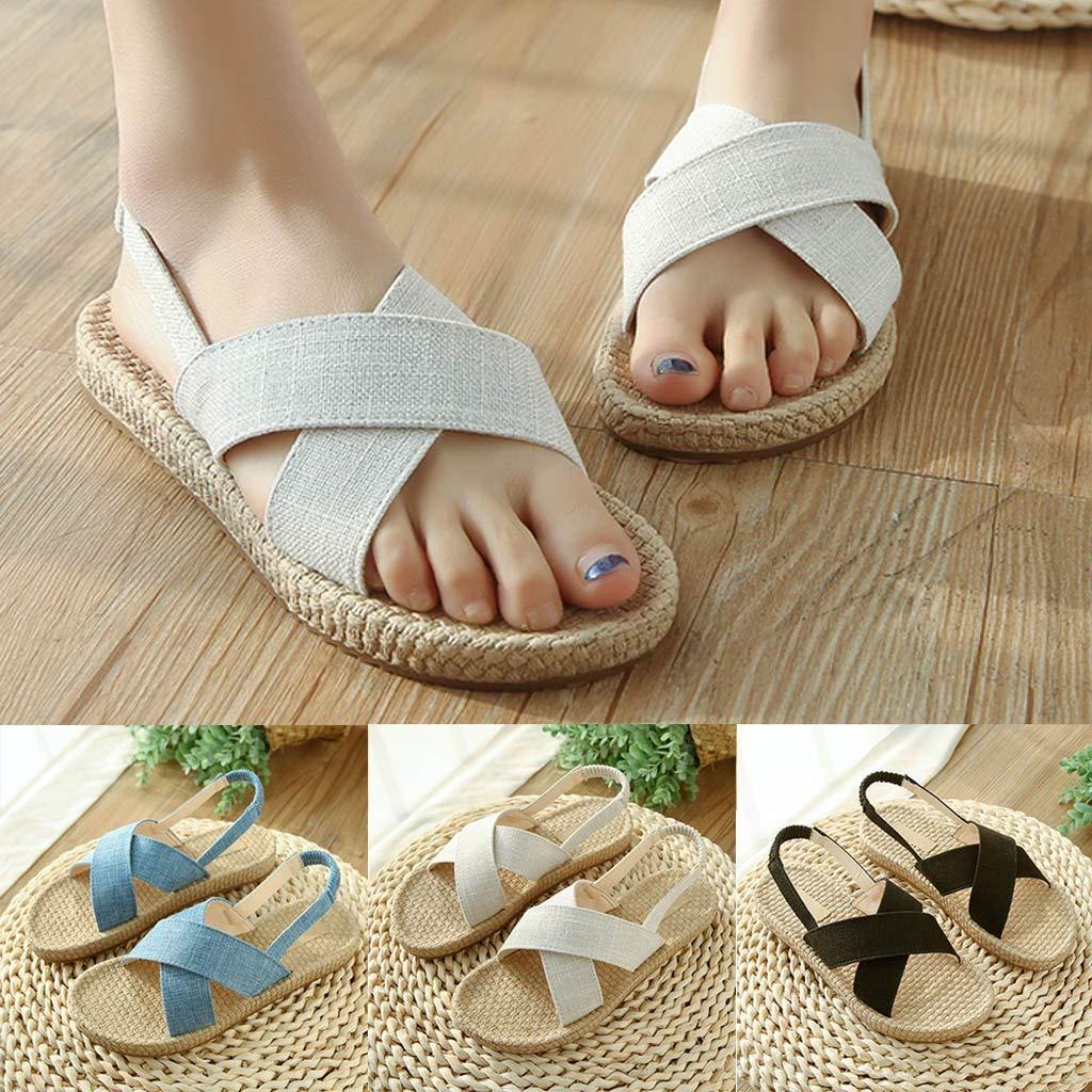 Summer Beach Slip On Shoes Women Espadrilles Slide Sandals Ladies Open Toe Wide Strap Elastic Slingback Flat Sandal