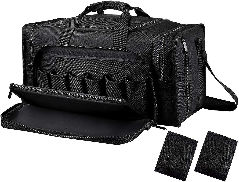 SoarOwl Tactical Gun Range Bag Shooting Duffle Bags for Handguns Pistols with Lockable Zipper and Heavy Duty Antiskid Feet (Black)