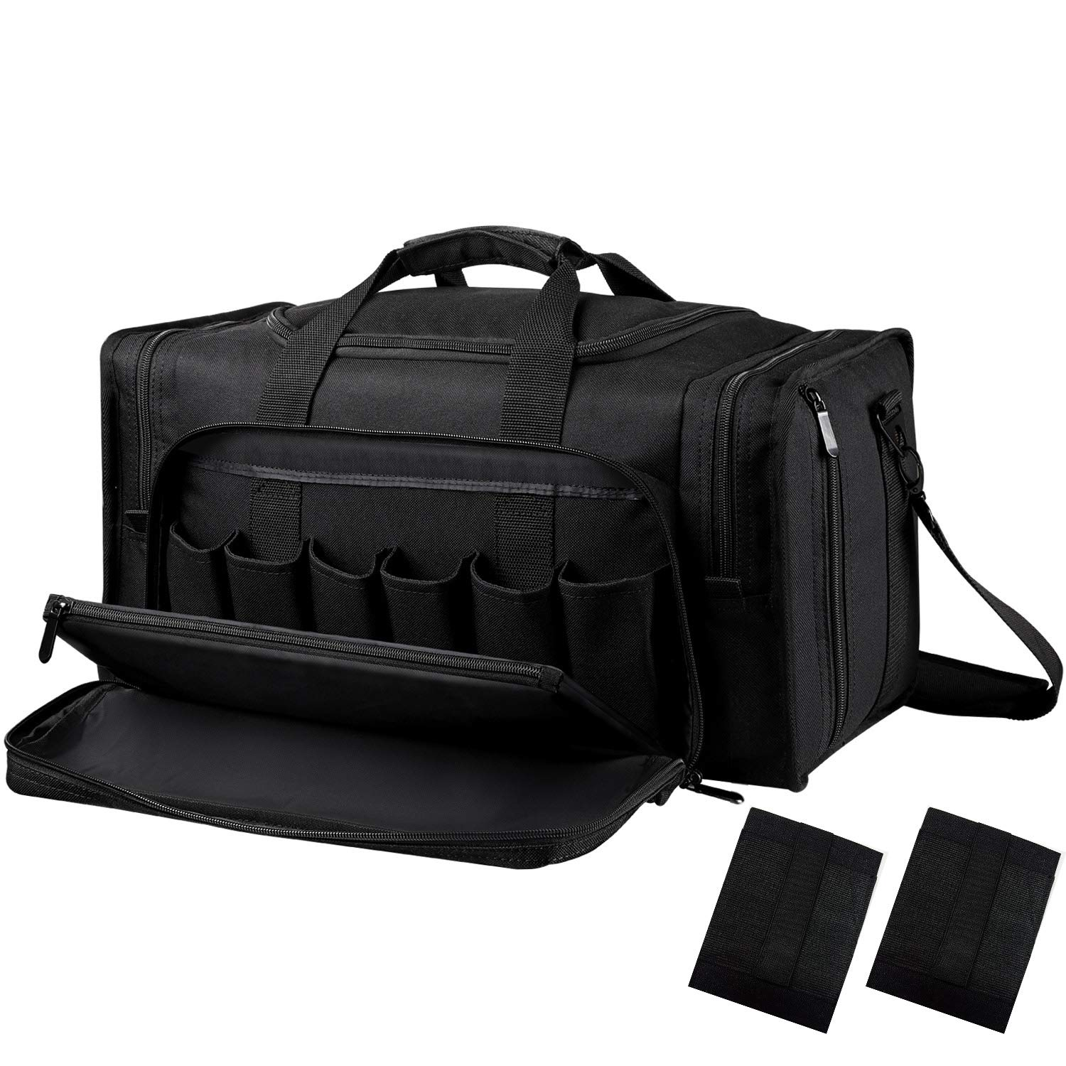 SoarOwl Tactical Gun Range Bag Shooting Duffle Bags for Handguns Pistols with Lockable Zipper and Heavy Duty Antiskid Feet (Black) by SoarOwl