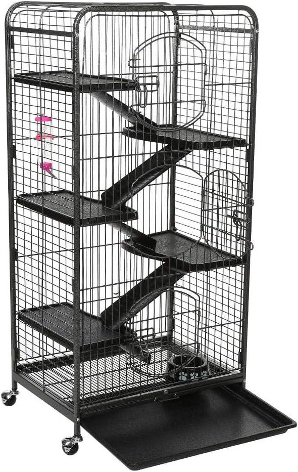 gototop jaula para conejos, gatos, Zorro, conejos Funda, marmotas, Animales Domésticos Grande, con 4Ruedas orientables, DE Metal, 64x 44x 132cm