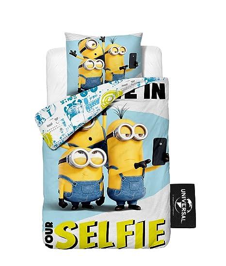 Copripiumino Minions.Copripiumino Minions Federa Per Letto Singolo Selfie Dim