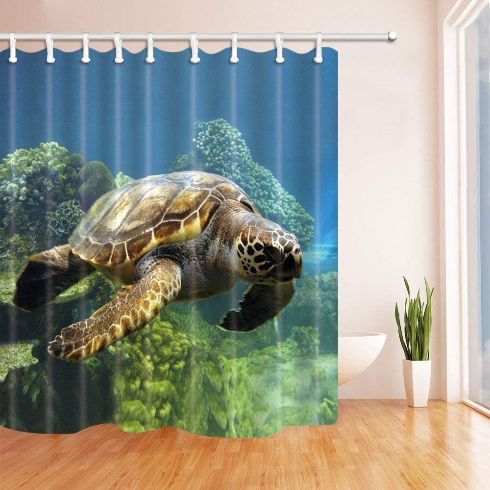 SZZWY Sea Turtles Shower Curtains Swimming In Deep Ocean With Coral Polyester Fabric Waterproof Bathroom Bath Curtain Hooks Included