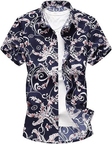 WanYangg Hombre Camisas Hawaianas Verano Manga Corta Camisas Informales de Flores Camisa Tropical de Fiesta tee Top: Amazon.es: Ropa y accesorios