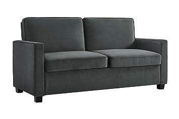 new concept 720e8 7376e Signature Sleep Casey Velvet Sofa with Memory Foam Mattress, Gray, Full