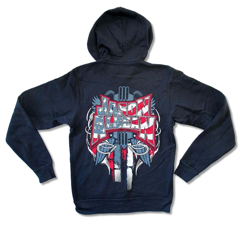 Canvas Jason Aldean America Navy Blue Zip Hoodie Sweatshirt