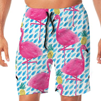 4b1d644419e63 Amazon.com: Flamingos and Pineapples Men's Swim Trunks Quick Dry Board  Shorts Bathing Suits Swimwear Volley Beach Trunks: Clothing