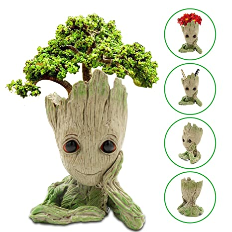 Maceta Groot Flower Pot, Guardianes del Galaxy Tree Man Macetas con Agujero, Bebé Groot Figuras Pot Pen Contenedor, Asamoom Maceta y Lapicero en Forma ...