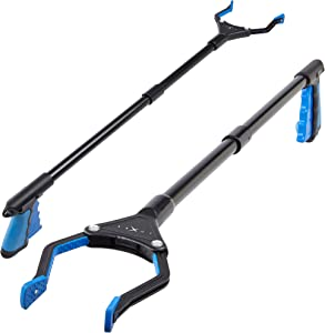 Grabber Reacher Tool - 2 Pack - Newest Version Long 32 Inch Steel Foldable Pick Up Stick - Strong Grip Magnetic Tip Lightweight Trash Picker Claw Reacher Grabber Tool for Elderly Reaching - by Luxet