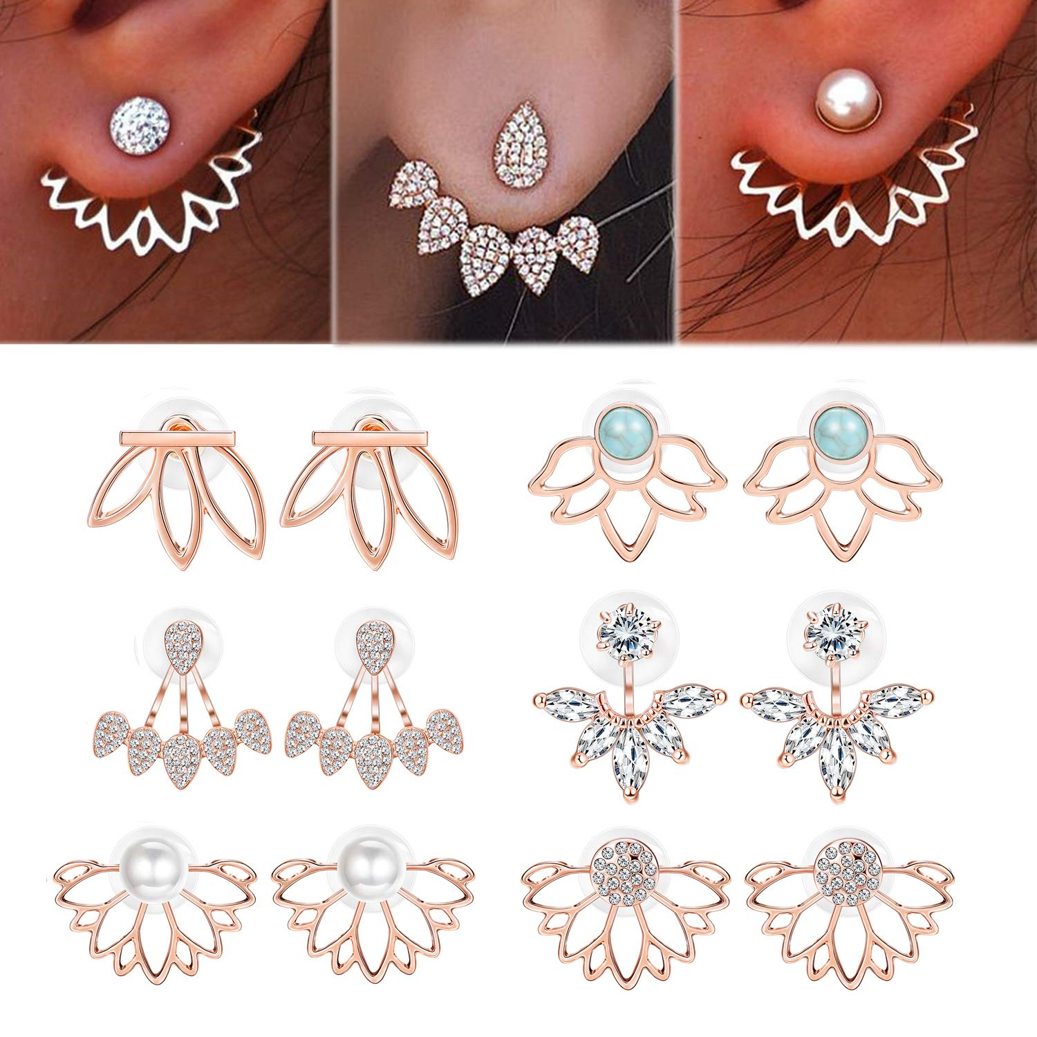 Adramata 6 Pairs Lotus Flower Earrings for Women Girls Simple Chic Fashion Stud Earrings B07G9ZN1YF_US