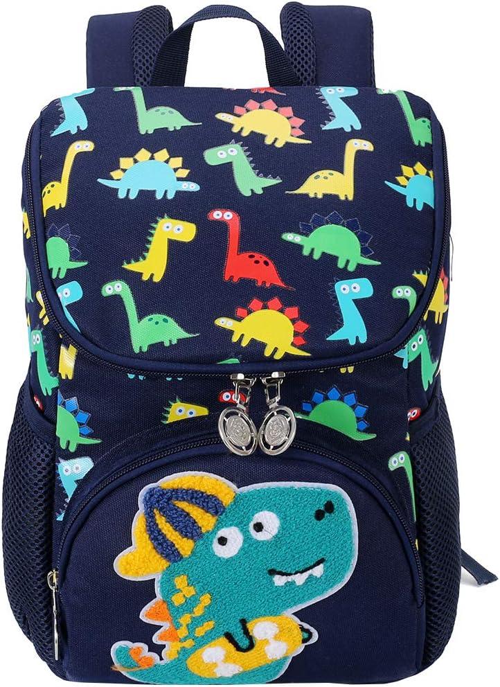 Mochila para niños, Japoece Light Dinosaur Preescolar Mochilas para jardín de Infantes Niños de 2 a 5 años Niños Niñas Mochila Escolar Duradera Impermeable(Azul Oscuro)