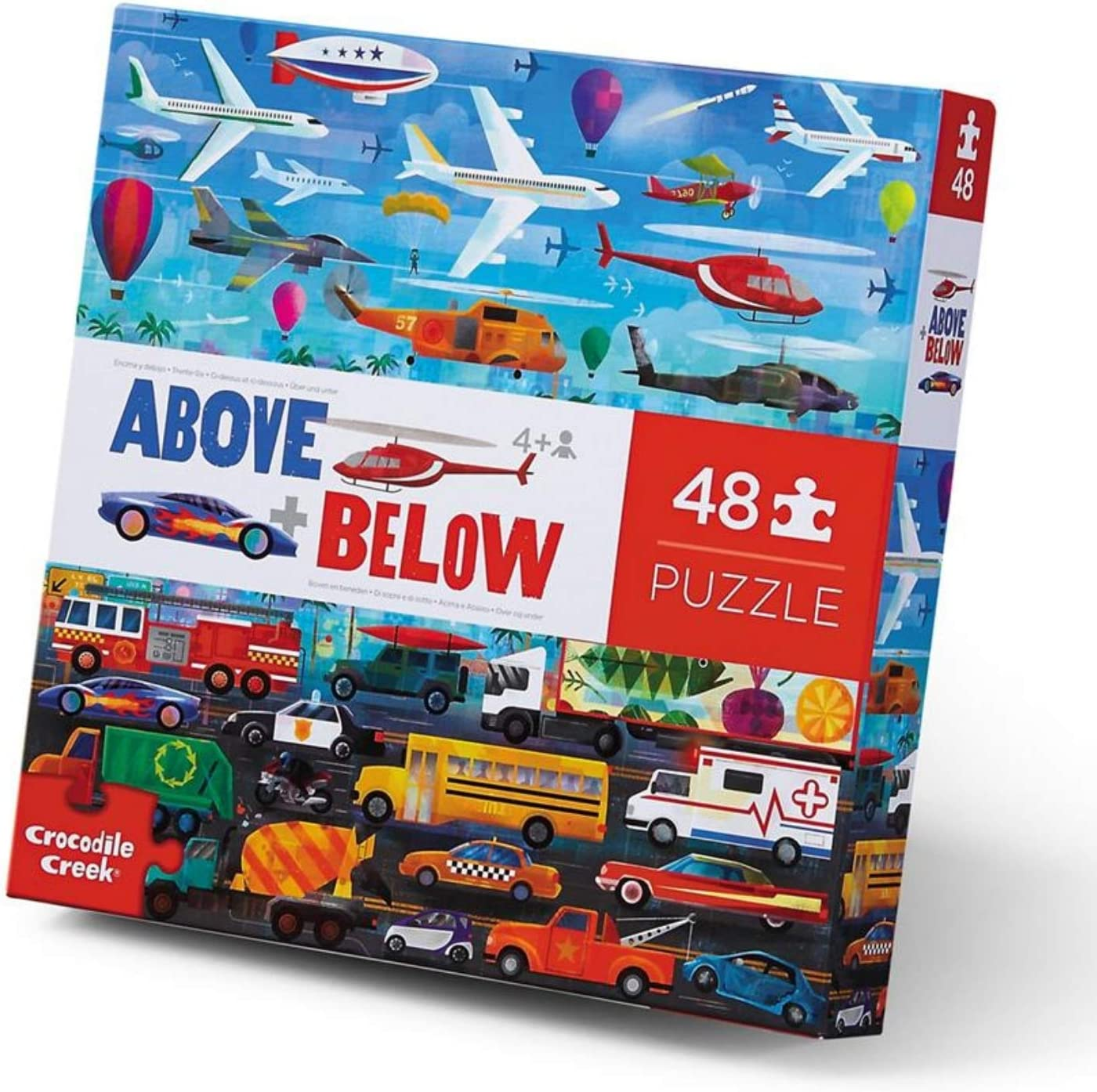 Crocodile Creek - Above + Below Vehicles - 48 Piece Giant Floor Puzzle for Kids Ages 4 and up