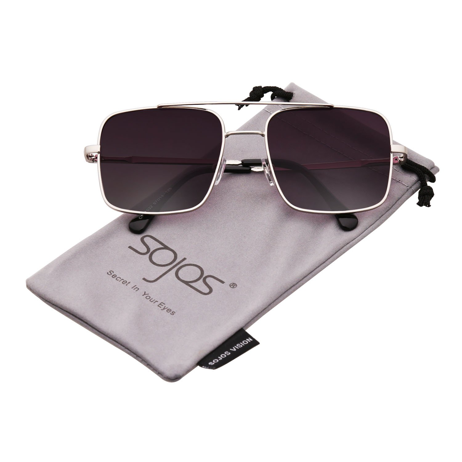668d82d46c Details about SojoS Square Double Bridge Metal Frame Sunglasses for Men and  Women SJ1089 with