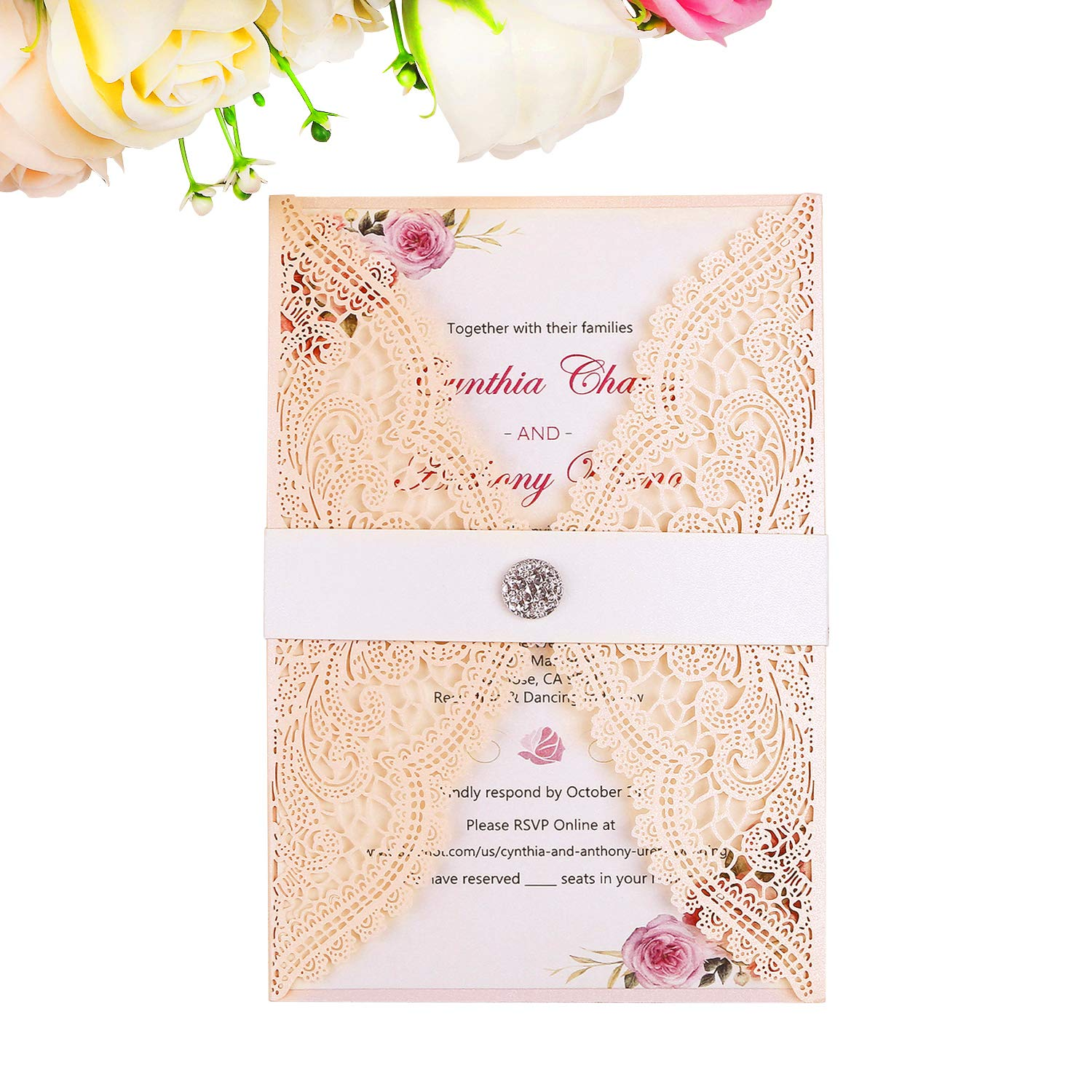 Wedding Invition Cards.Ponatia 25pcs Lacer Cut Wedding Invitations Card Hollow Bride Invitations Cards For Wedding Bridal Invitation Engagement Invitations Cards Blush
