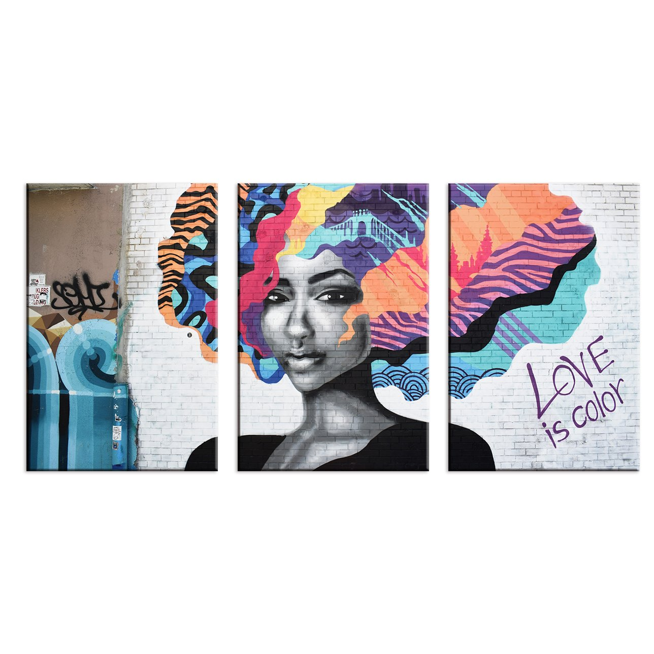 wall26 – 3 Panel Canvas Wall Art – Triptych Street Graffiti Series – Love is Color – Giclee Print Gallery Wrap Modern Home Decor Ready to Hang – 16 x24 x 3 Panels