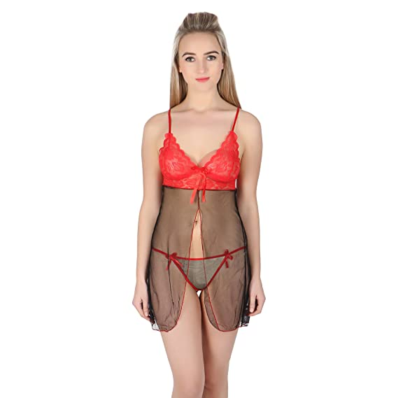 7df0c746f8d BlackFumes Ultra Hot Sexy Lace Sleepwear with G - String Lingerie Self  Design 2 Piece Babydoll Nighty for Women Free Size Red Color  Amazon.in   Clothing   ...