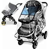 Stroller Rain Cover and Baby Stroller Mosquito Net(2-Piece Set),Universal Stroller Accessory,Waterproof, Windproof Protection