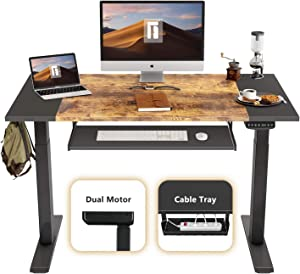 FEZIBO Dual Motor Height Adjustable Electric Standing Desk, 48 x 24 Inches Full Sit Stand Home Office Table with Splice Board, White Frame/Black and Rustic Brown Top
