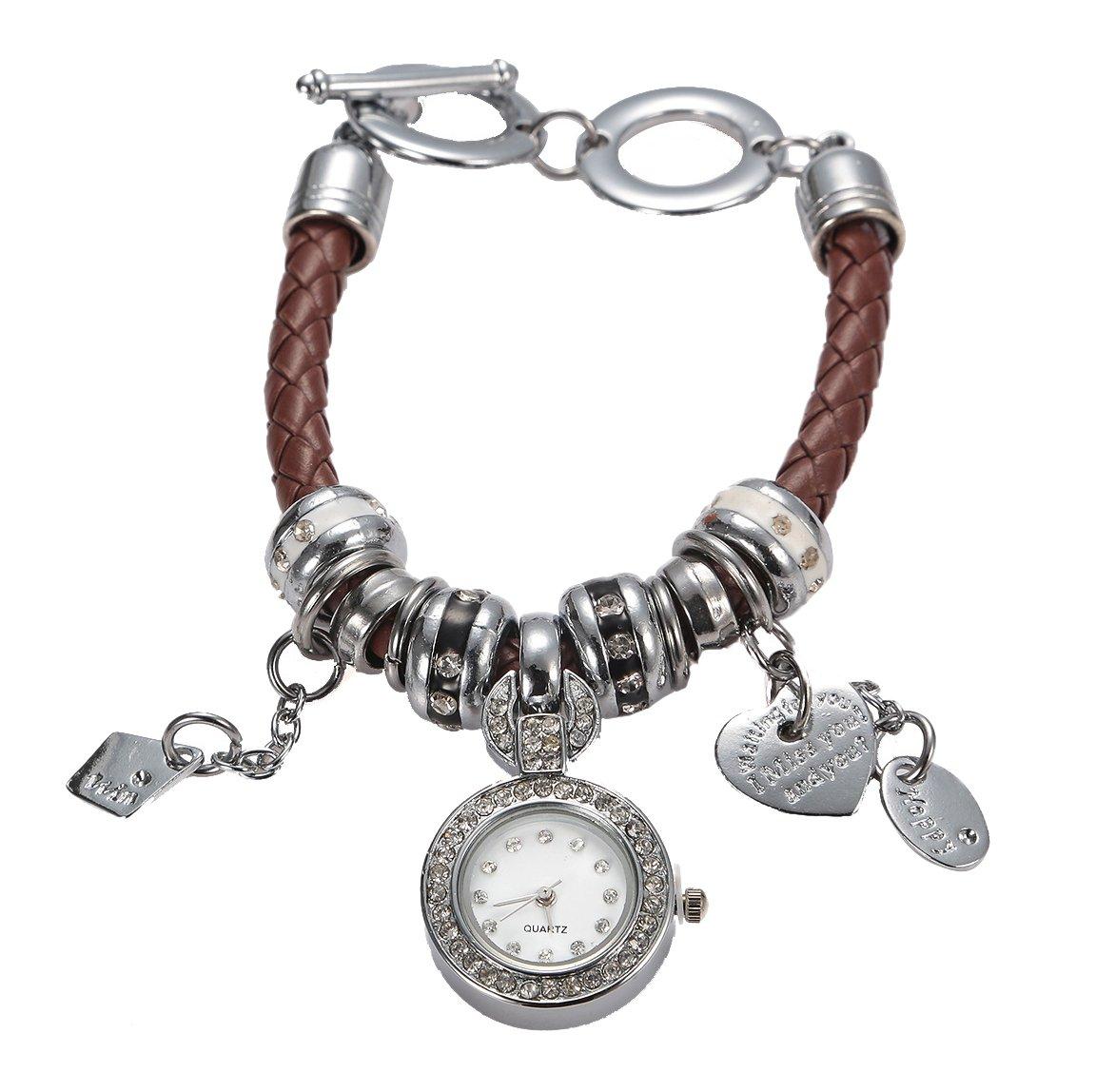 Soulvin Women Retro Love Heart Pendant Charm Rhinestones Weave Belt Bracelet Watch Brown