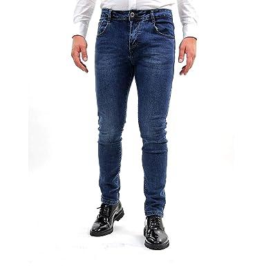 check-out 60a69 fa703 Jeans Uomo Stretti Slim Fit Stretti alla Caviglia Elasticizzati Pantalone  Denim Blu Classici Casual Pantaloni di Jeans Sportivi Bikers Moto