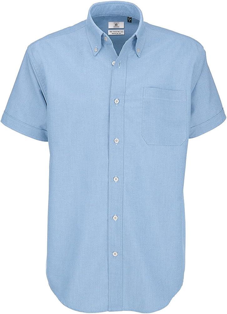 B&C B and C Oxford - Camiseta de Manga Corta para Hombre Azul Azul ...