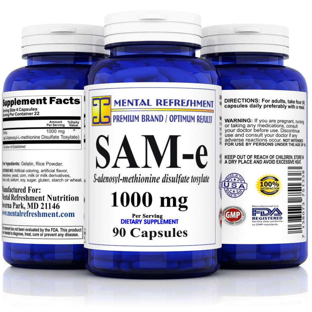 Mental Refreshment SAM-e 1000mg per Serving – 90 Capsules Best Value, S-AdenosyL-Methionine Disulfate Tosylate 1 Bottle
