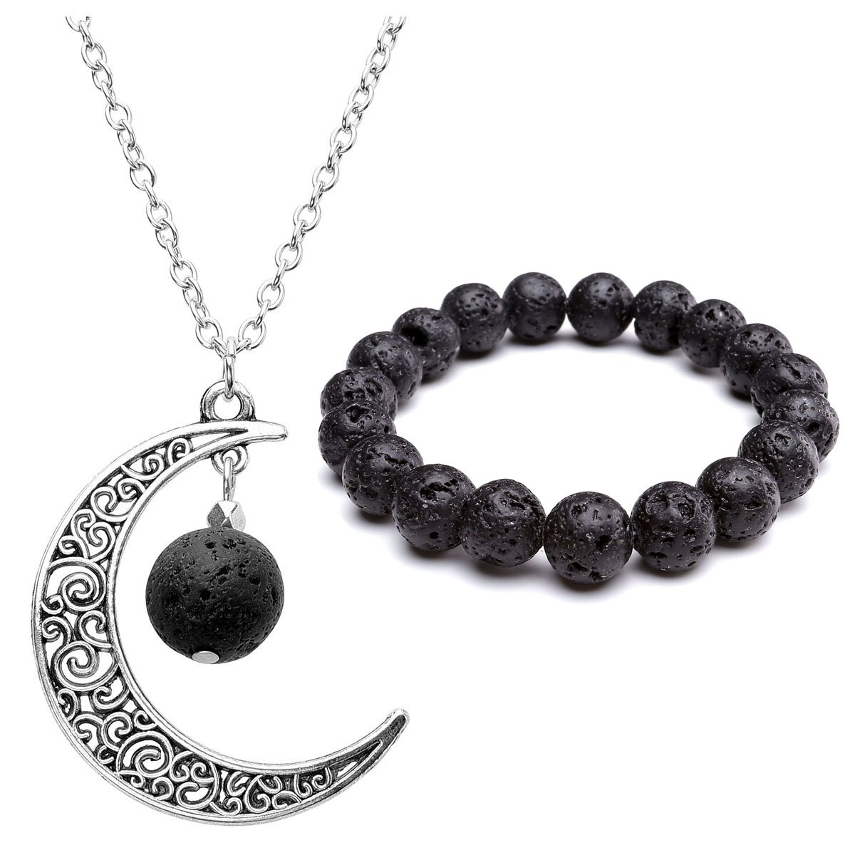 Top Plaza Women Fashion Aromatherapy Black Lava Rock Stone Essential Oil Diffuser Necklace Bracelet Set,Natural Gemstone Hollow Crescent Moon Necklace Jewelry Set