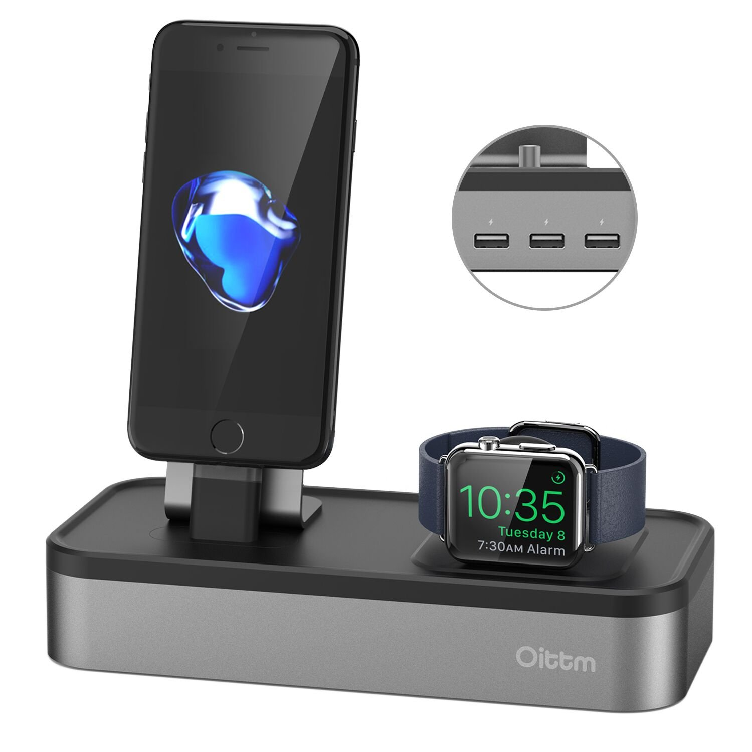 Apple Watch Series 3 Stand, Oittm [5 in 1 New Version] 5-port USB Rechargeable Stand for iWatch Series 3/2/1, iPhone X, 8, 8 Plus, 7, 7 Plus, 6, iPad Mini, iPod, Apple Pencil (Space Gray)