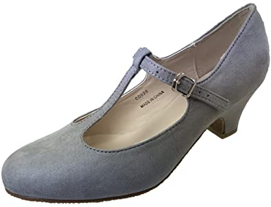 af7c83ea9 Ladies Faux Suede Mary Jane Wide Fit Court Shoes in Black Grey Or Navy   Amazon.co.uk  Shoes   Bags