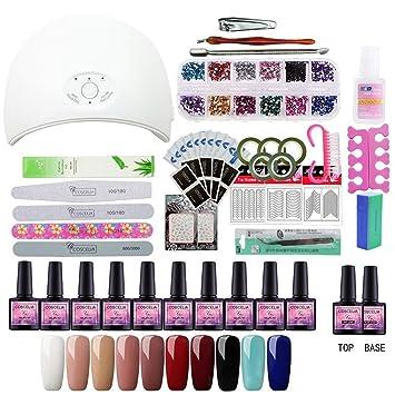 78b744c6d23 Amazon.com   Nail Set Gel Nail 36W UV Lamp Dryer Manicure Set 10Pcs Nail  Gel Polish Soak Off Manicure Gel Polish Kit For Nail Salons With Lamp Kit  02   ...