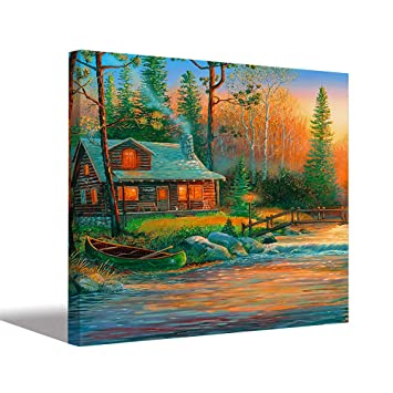 Aart Store Canvas Painting Beautiful House Modern Art Wall Painting For Living Room Bedroom Office Hotels Drawing Room 24x36 Inch Amazon In Home Kitchen
