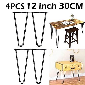 4 patas de mesa de horquilla, patas de mesa de comedor de metal ...
