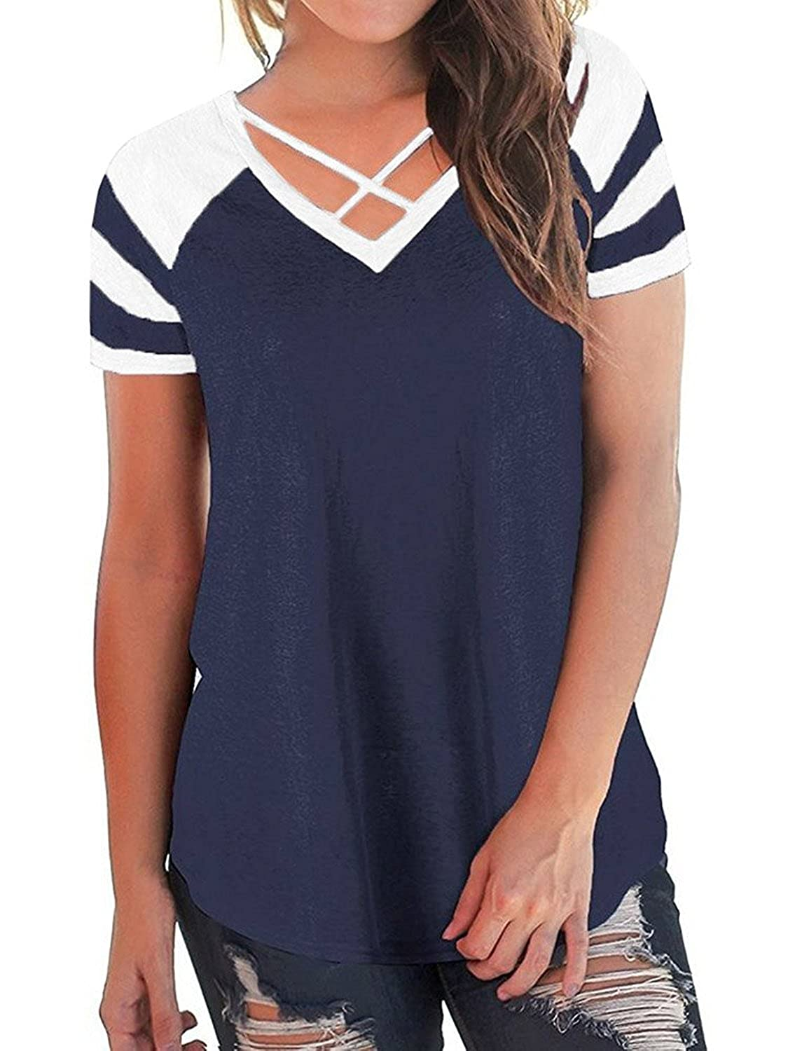 86218ff9ad4 Feature: Short sleeve shirt, criss cross v neckline, sleeve with color  block stripes patchwork, loose baseball tees for womens