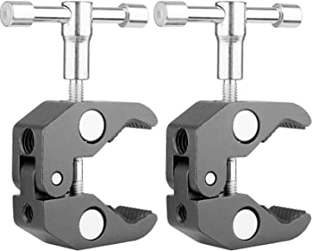"""2Pack ChromLives Super Clamp w/ 1/4"""" and 3/8"""" Thread Rod Clamp Pliers Clip for DSLR Rig Cameras, 15mm Rods, Lights, Umbrellas, Hooks, Shelves, Plate Glass, Cross Bars and More"""