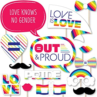 product image for Big Dot of Happiness Love is Love - Gay Pride - LGBTQ Rainbow Party Photo Booth Props Kit - 20 Count