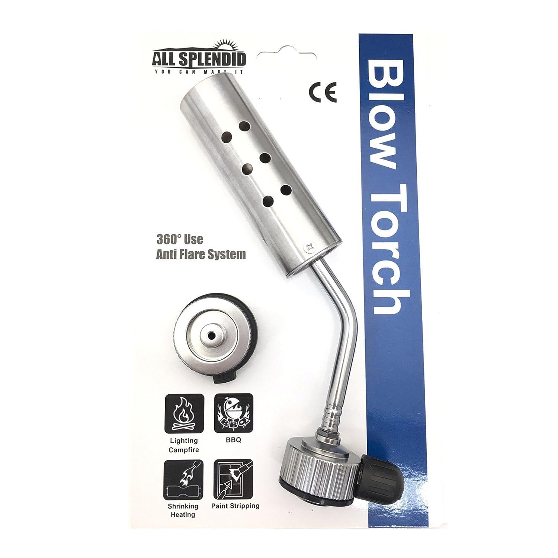 All Splendid Butane Burner - Camping Welding Heating Gas Blow Torch- Kitchen Blow Torch Burner (Silver) AH-BB12
