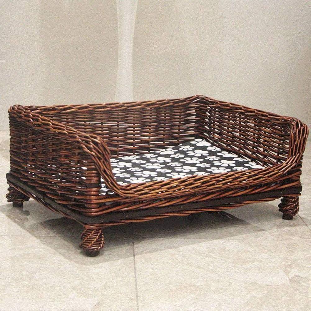 CHUNSHENN ペットのベッド 犬/猫ベッド ウィッカー犬のベッド、防水耐久性のあるラタン高架ペットベッド、テディゴールデン、小|ミディアム-A M ペット用品