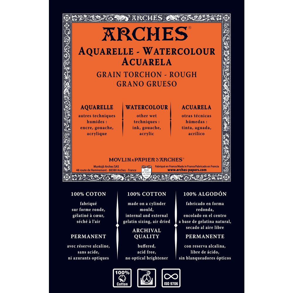 Canson Arches Watercolor Paper Roll, Rough Finish, 156 Pound, 51 Inch x 10 Yard Roll, Natural White by Arches